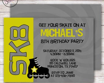 Rollerblade Skating Birthday Party Invitation DIGITAL OR PRINTED