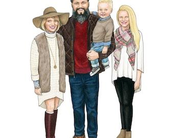 Family Portrait, Family Illustration, Custom Portrait, Hand Drawn Portrait, Custom Illustration, Paper Anniversary Gift, Mothers Day Gift