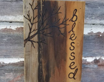"""Blessed - Pyrography Reclaimed Wood Box Sign - 8"""" x 5 1/2"""""""