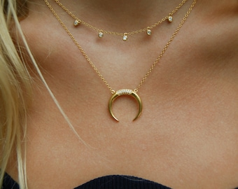 Gold necklace - horn necklace - tusk necklace - statement necklace - cz necklace - zodiac necklace - thin necklace - tusk - horn -J1-PD-1383