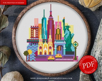 New York Cross Stitch Pattern for Instant Download *P078 | Easy Cross Stitch| Counted Cross Stitch|Embroidery Design| City Cross Stitch