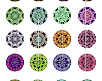 Rainbow Mandela Art - Instant Download Digital Art, Circles 1.5 & 1.0 Inch, Collage Sheets