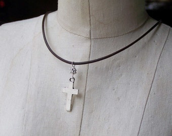 50% OFF Cross Necklace, Christian Necklace, Silver Cross, Cross and Leather Necklace, Cross, Etsy, Etsy Jewelry, Beaded Necklace