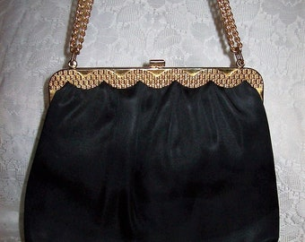 Vintage 1950s Ladies Black Satin Bag w/ Matching Coin Purse, Brass Clasp & Hang Chain by Mardane Only 12 USD