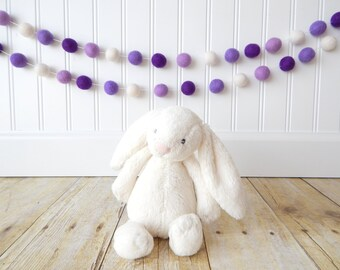 Purple Garland Ombre Purple Birthday Party Decor, Felt Ball Garland Princess Party Garland Girl Nursery Decor, Birthday Decor Baby Girl Room