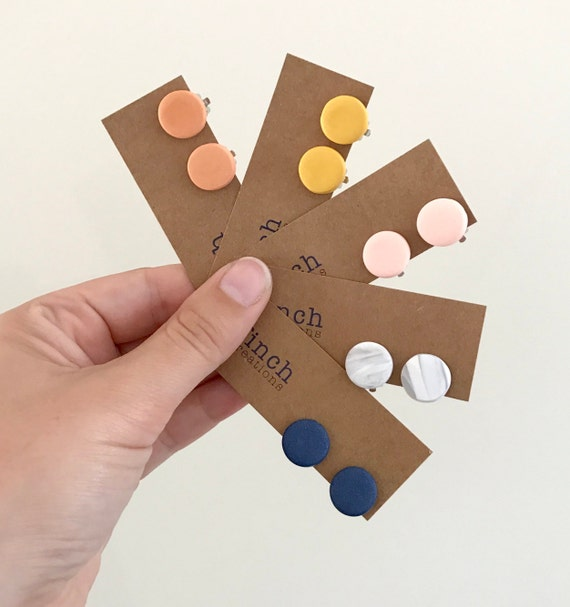 Clip On Earrings, Clay Earrings, Navy, Mustard, Terracotta, Marble And Blush by Etsy