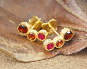 Gold Stud Earring, Ruby Studs, Ruby Earrings, Gemstone Earring, Birthstone Earrings, Rustic Earrings, Organic Earring, Garnet Earrings