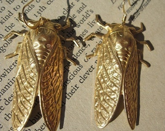 CICADA Earrings huge statement Jewelry raw brass jewelry