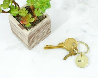 HOME Hand Stamped Metal Brass Key Ring Keychain