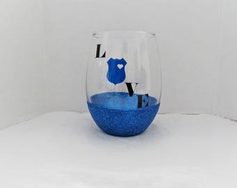 Thin blue line wine glass/ police love / back the blue / wine glass/ custom wine glass/ glitter wine glass /