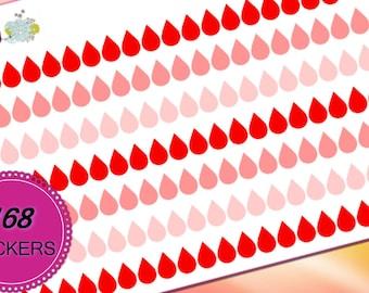 168 Red Pink Drops Period Tracker Vertical Horizontal Planner Stickers for Erin Condren Life Planner (ECLP) PPP Reminder Sticker LDD1149