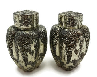 Japanese Tea Caddy Pair - Metal, Wisteria Decoration