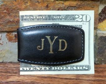 Monogram Leather Money Clip - Personalized Magnetic Monogrammed Money Clip - Groomsmen Gift-Black
