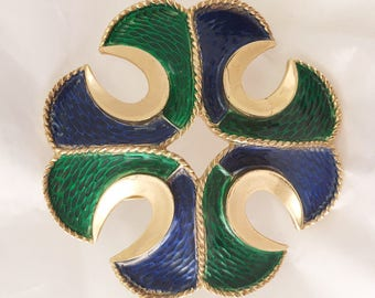 Vintage Trifari blue green gold enameled cross heraldic Maltese textured pin heavy
