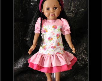 "American Girl Style 18"" Doll Tunic Style Dress, Pink & Flower Print! Back to School or Dress Up Doll Clothes"