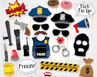 Printable Police Robber Photo Booth Props - Cops Photobooth Props - Printable Thief Props - Police and Thief Props