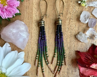 Long Beaded Earrings, Tassel Earrings, Seed Bead Earrings, Boho Earrings, Beaded Earrings, Long Fringe Earrings