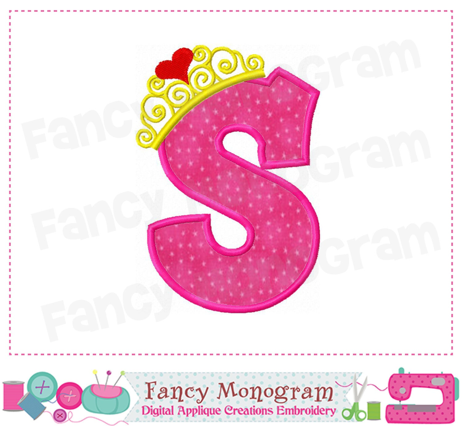 Pincess crown monogram s appliqueletter s appliquespincess this is a digital file thecheapjerseys Gallery