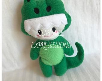 Handmade Little Alligator Boy - Cuddle, Stuffie, Softie, Plush, Chubby, Chunky, kawaii, Crocodile, Rattle - Perfect for Babies