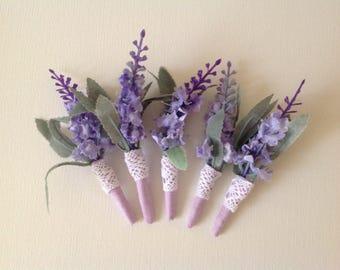 Lavender boutonnière, mauve corsage, groom boutonnière, rustic wedding, woodland wedding, men's wedding button hole,vintage pin corsage