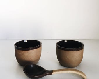 Set of 2 Clay Bowls & Spoon
