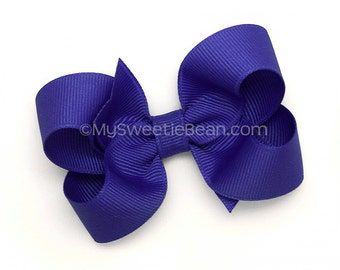 "Violet Blue Hair Bow, 3 inch Boutique Bow, Pansy, Indigo 3"" Bow, Medium Grosgrain Bow, Baby, Toddler Hair Bow, Girls Hairbows, Baby, Toddler"