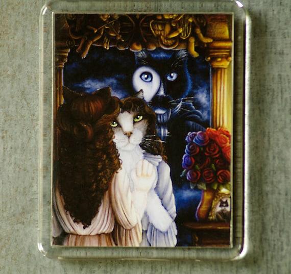 Phantom Cat Magnet, Tuxedo Cat Phantom of the Opera Fridge Magnet