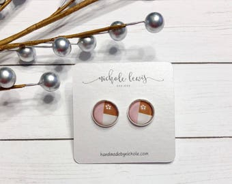 Pink Geometric Stud Earrings