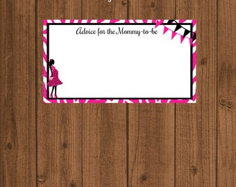 Zebra Baby Shower, Advice for the Mommy-to-be, Words of Wisdom, Girl Baby Shower, Pink Zebra Baby Shower, Instant Download