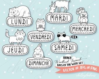Woodland Animal Days of the Week Digital Stamp Set, French, DIY Planner Stickers, Vector, Français, Animaux Des Bois, Jours De La Semaine
