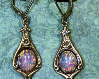 Fires Burning Within Pink Vintage Fire Opal Dangle Earrings Art Deco Harlequin Glass