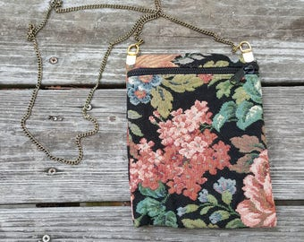 Vintage Floral Tapestry Purse with Chain Strap Handbag Pouch