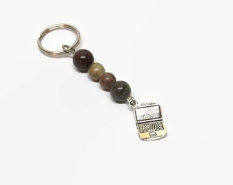 Laptop Key Chain, Computer Key Chain,  IT Key Ring, Business Key Chain, Online Key Chain, Father's Day Key Chain, Stocking Stuffer