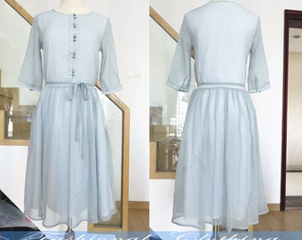 light blue cotton dress spring summer dress women clothing women dress half sleeve dress vintage dress