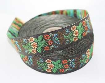 22 mm Green Floral Embroidered ribbon (0.86 inches), Vintage Jacquard, Floral ribbon, Sewing trim, Jacquard trim, Jacquard ribbon, 22907