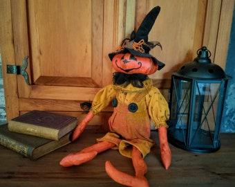 Primitive Pumpkin - Pumpkin Doll - Handmade Doll - Primitive Doll - Primitive Halloween Decor - Halloween Decor - Jack O Lantern Doll - Fall