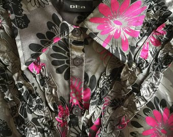 Vintage 90s Silver Gray Women Dress Pink Floral Pattern Miidi Dress Romantic Elegant Dress Size L