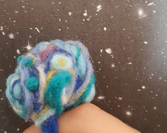 Felted Ring, OOAK handmade wool jewelry, unisex felted ring, needle felted cocktail ring, Boho Chunky Ring, nautical, turquoise, blue, green