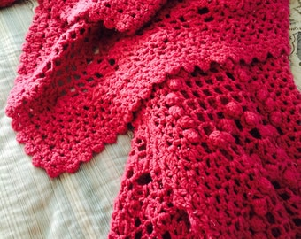 Raspberry Richly Colored Afghan or Throw Hand Crocheted Vintage from Charity for Juvenile Diabetes