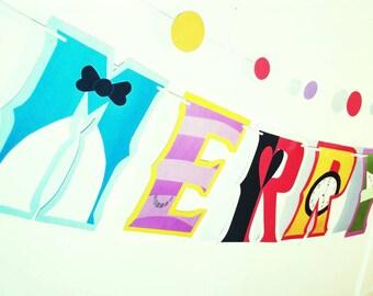 Unbirthday Party Banner, MERRY UNBIRTHDAY Banner, Alice in Wonderland Birthday Party, Alice in Wonderland Birthday Banner, Party