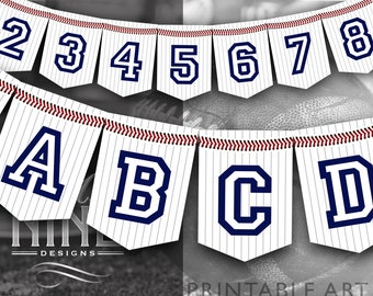Baseball Party Banner Printables | Baseball Banner Downloads | Sports Party Printables | Digital Downloads | Banner Letters Numbers BB15