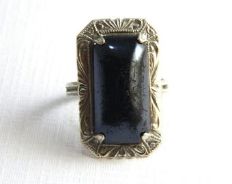 "Antique Art Nouveau Sterling Silver Onyx Ring - Mourning Jewelry - Black Celluloid - 1"" High - Elongated - Size 5"