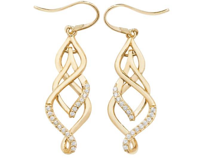 9ct Yellow Gold Cz Ornate Twisted Teardrop Hook Earrings