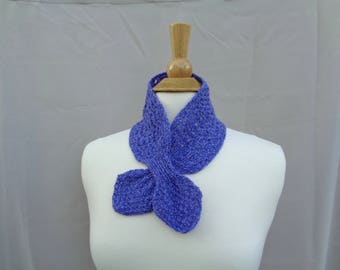 Cashmere Ascot Scarf, Pull Through Keyhole, Small Neck Scarf, Hand Knit Neck Warmer, Bright Purple, Winter Fashion