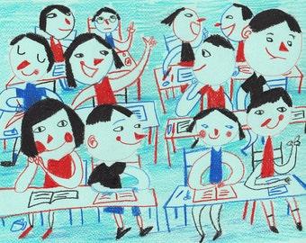 Literature lesson/ ORIGINAL ILLUSTRATION / Children decor / kids art / House view / Cyan / Happy kids-Original Pencil Drawing