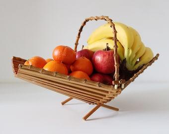 Folding bamboo fruit bowl bread basket 1960s 1970s