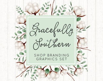 Rustic Cotton Shop Branding Banners, Avatar Icons, Business Card, Logo Label + More - 13 Premade Graphics Files - GRACEFULLY SOUTHERN