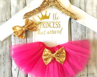 Pink and gold the princess has arrived outfit baby girl outfit Hospital take home outfit baby shower gift the princess has arrived tutu set