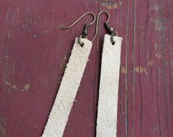 leather strip earrings // suede