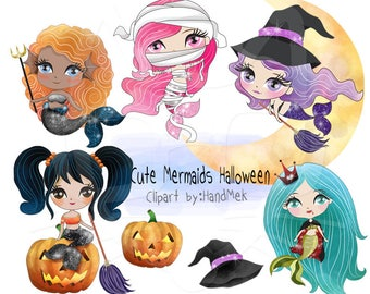 Cute Mermaids Halloween clipart instant download PNG file - 300 dpi